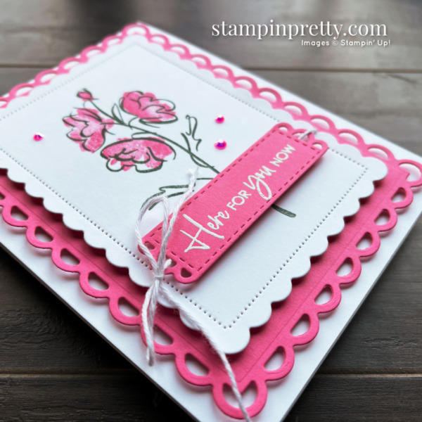 SNEAK PEEK! Color & Contour Bundle + Polished Pink In Color from Stampin' Up! Here for You Card by Mary Fish, Stampin' Pretty