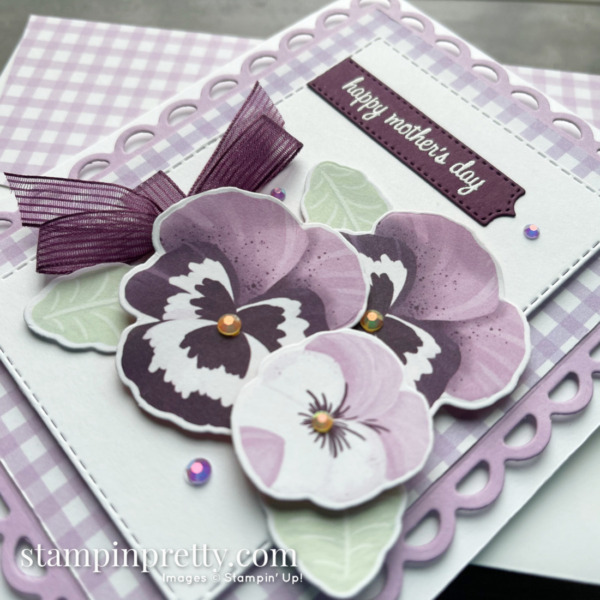 SNEAK PEEK Pansy Petals Suite Collection & Scalloped Contours Dies from Stampin' Up! Happy Mother's Day Card by Mary Fish, Stampin' Pretty