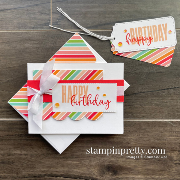 Create this Happy Birthday Card and Gift Tag using the Biggest Wish Stamp Set from Stampin' Up! Mary Fish, Stampin' Pretty