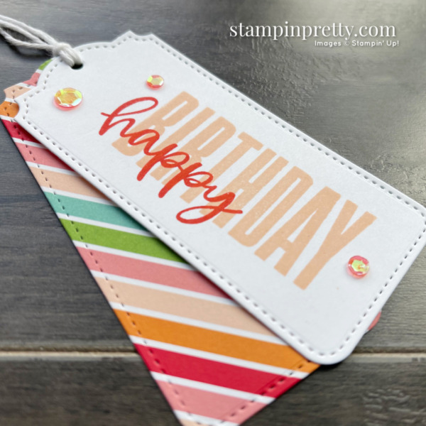 Create this Happy Birthday Gift Tag using the Biggest Wish Stamp Set from Stampin' Up! Mary Fish, Stampin' Pretty