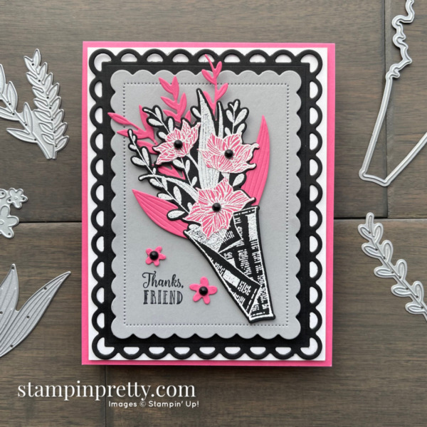 Create this card using the Wrapped Bouquet Bundle from Stampin' Up! Thanks, Friend Card created by Mary Fish, Stampin' Pretty