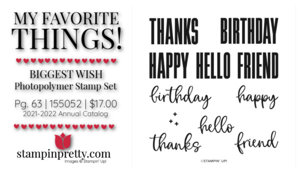 My Favorite Things Mary Fish Stampin' Pretty Stampin' Up! Biggest Wish Photopolymer Stamp Set 155052 $17