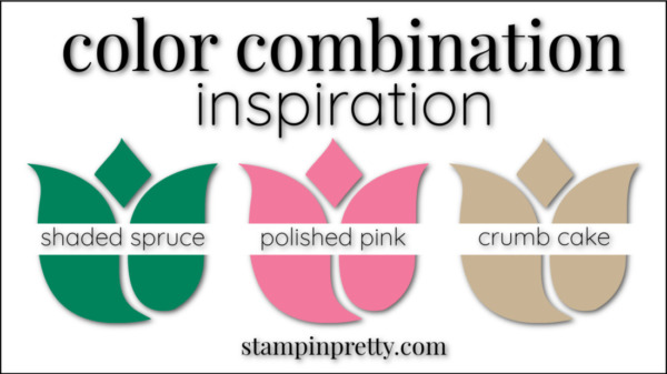 Stampin' Pretty Color Combinations Polished Pink, Shaded Spruce, Crumb Cake