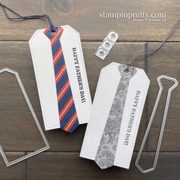 Create these Happy Father's Day Gift Tags Using the Well Suited DSP and Tailored Tags by Stampin' Up! Mary Fish, Stampin' Pretty