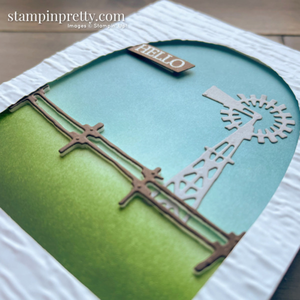 Create this Hello card using the Open Range Dies 50% Off from Stampin' Up! Card by Mary Fish, Stampin' Pretty