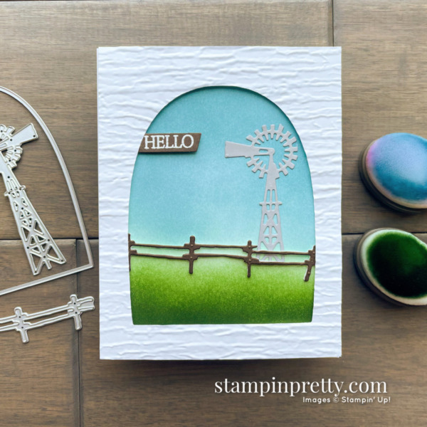 Create this Hello card using the Open Range Dies from Stampin' Up! Card by Mary Fish, Stampin' Pretty