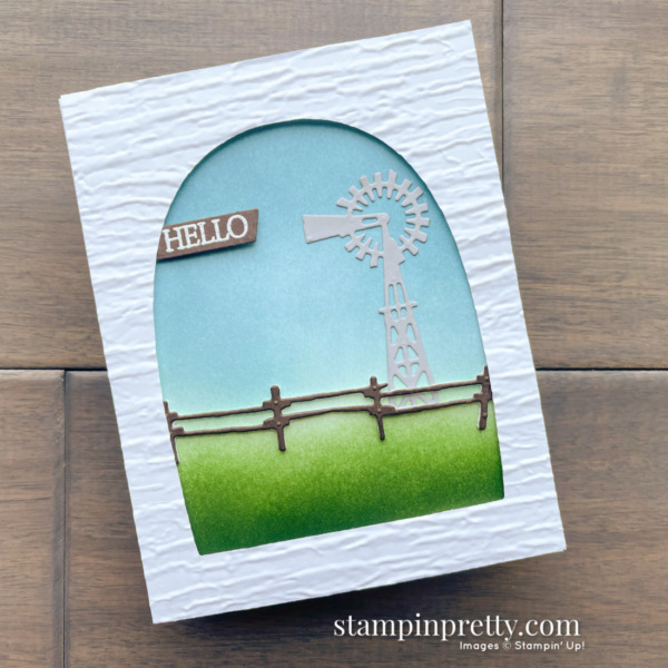 Create this Hello card using the RETIRING Open Range Dies 50% Off from Stampin' Up! Card by Mary Fish, Stampin' Pretty
