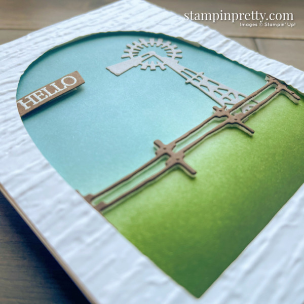 Create this Hello country card using the Open Range Dies from Stampin' Up! Card by Mary Fish, Stampin' Pretty