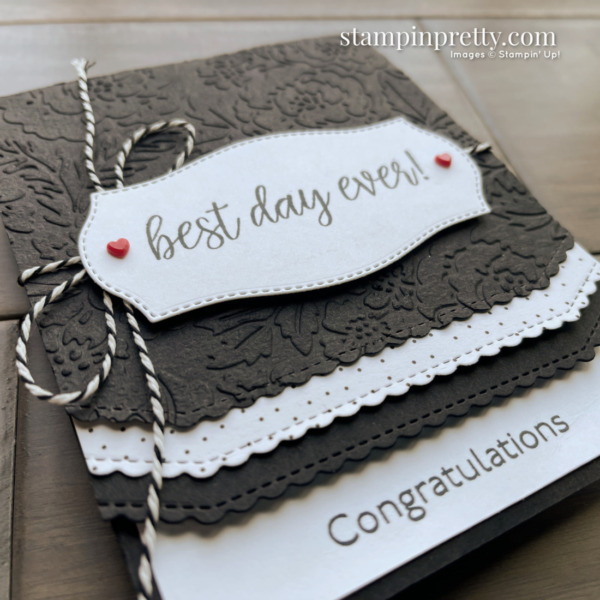 Create this wedding card using the In Symmetry Stamp Set from Stampin' Up! Card by Mary Fish, Stampin' Pretty Sketch 25