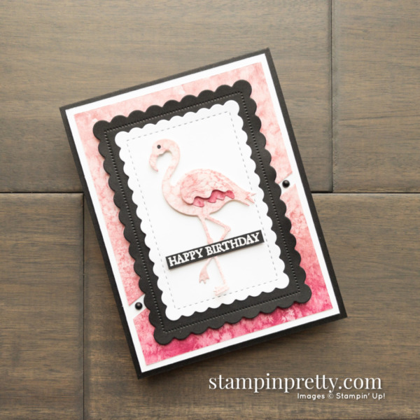 Flamingo Dies, Friendly Flamingo Stamp Set from Stampin' Up! Happy Birthday Card by Mary Fish, Stampin' Pretty