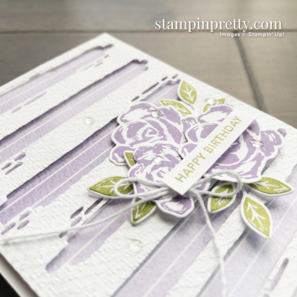 Happy Birthday Card by Mary Fish, Stampin' Pretty Created with the Retiring Brushed Blooms Bundle From Stampin' Up! Shop Online 24-7 Earn Exclusive Tulip Rewards