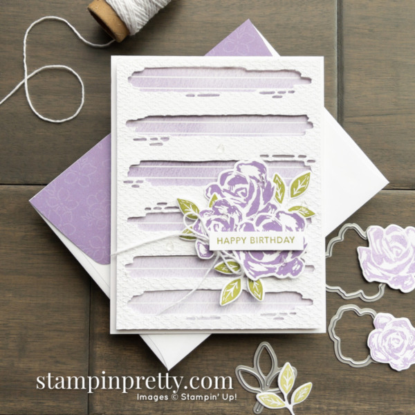 Happy Birthday Card by Mary Fish, Stampin' Pretty Created with the Retiring Brushed Blooms Bundle From Stampin' Up! Shop Online 24-7 Earn Tulip Rewards