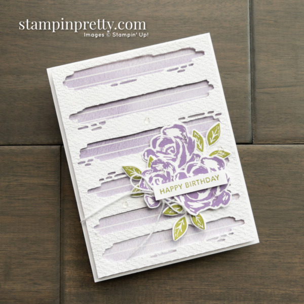 Happy Birthday Card by Mary Fish, Stampin' Pretty Created with the Retiring Brushed Blooms Bundle From Stampin' Up! Shop Online 24-7 Earn Tulip Rewards Card