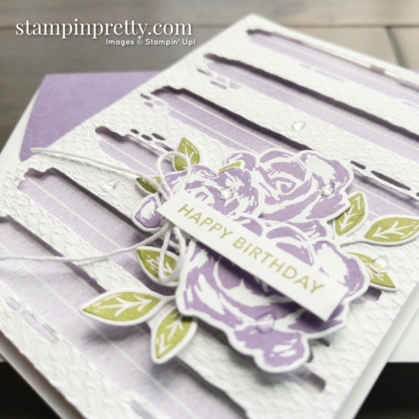 Happy Birthday Card by Mary Fish, Stampin' Pretty Created with the Retiring Brushed Blooms Bundle From Stampin' Up! Shop Online 24-7 Earn Tulip Rewards Slant