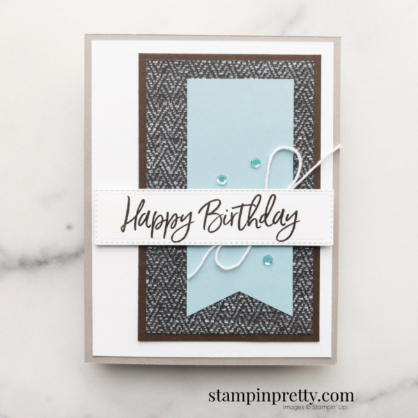 Create this Masculine Birthday Card using the In Good Taste DSP from Stampin' Up! Card by Mary Fish, Stampin' Pretty