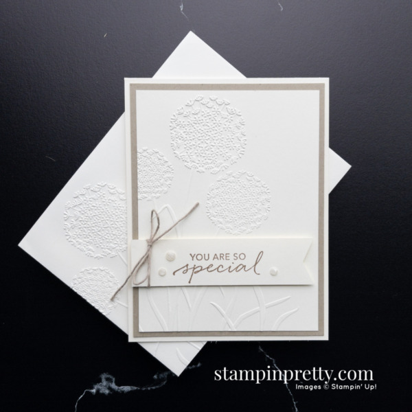 Create this card using the Dandelion 3D Embossing Folder by Stampin' Up! Card by Mary Fish, Stampin' Pretty