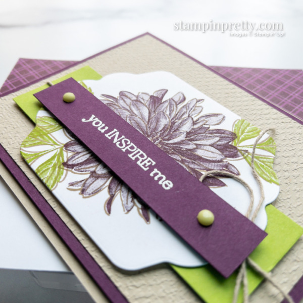 Create this card with Stampin' Up! Delicate Dahlias Sale-a-Bration Stamp Set Card Created by Mary Fish, Stampin' Pretty Card and Envelope