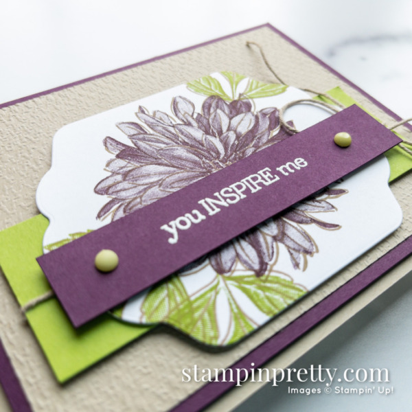 Create this card with Stampin' Up! Delicate Dahlias Sale-a-Bration Stamp Set Card Created by Mary Fish, Stampin' Pretty Closeup