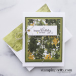 Create this masculine birthday card using the Beauty of the Earth Suite DSP Mary Fish, Stampin