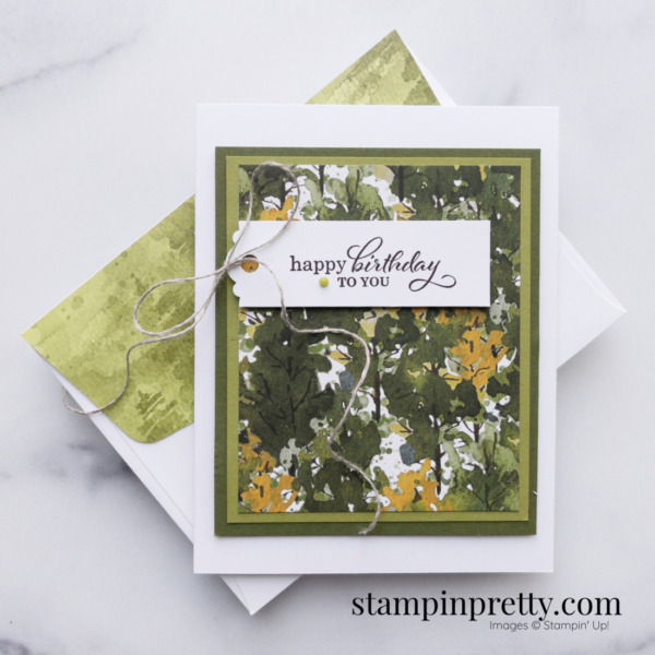 Create this masculine birthday card using the Beauty of the Earth Suite DSP Mary Fish, Stampin' Pretty