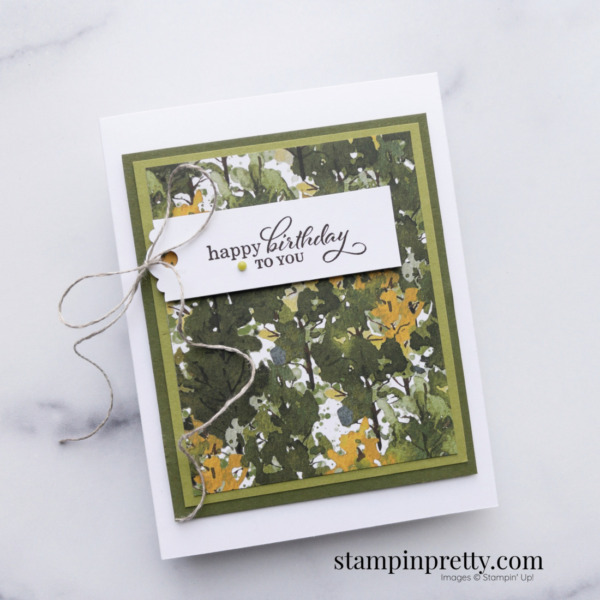 Create this masculine birthday card using the Beauty of the Earth Suite Designer Series Paper Mary Fish, Stampin' Pretty