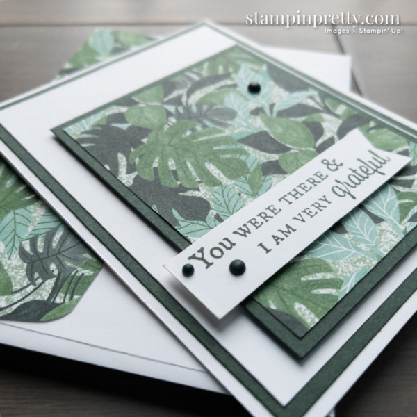 Create this simple grateful card using the Bloom Where You're Planted DSP from Stampin' Up! Cards by mary Fish, Stampin' Pretty
