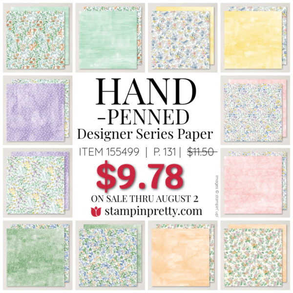 Hand Penned Designer Series Paper by Stampin Up! Mary Fish, Stampin' Pretty