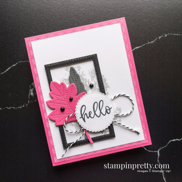 Hello Card Created with Stitched Leaves Dies From Stampin' Up! Card by Mary Fish, Stampin' Pretty