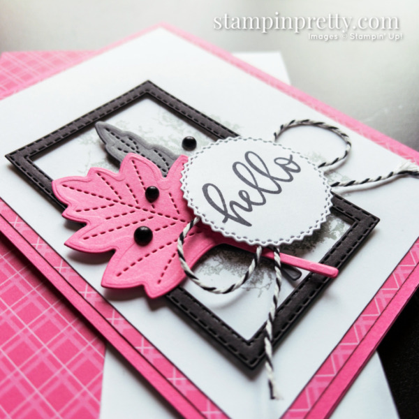 Hello Card Created with Stitched Leaves Dies From Stampin' Up! by Mary Fish, Stampin' Pretty, Shop Online 24_7