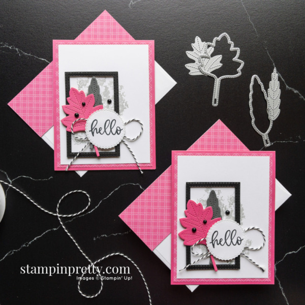 Hello Card Duo Stitched Leaves Dies From Stampin' Up! Card by Mary Fish, Stampin' Pretty