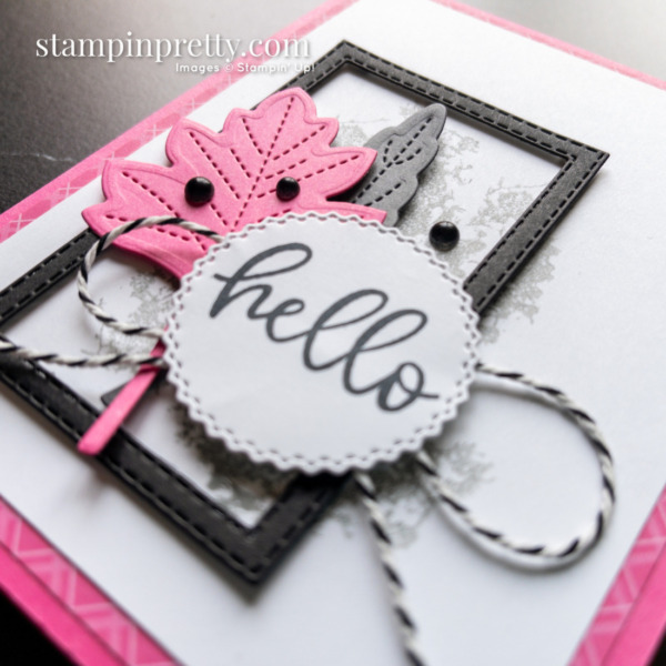 Hello Card Duo Stitched Leaves Dies From Stampin' Up! Card by Mary Fish Stampin' Pretty