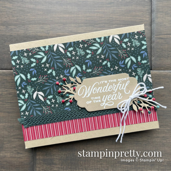 Most Wonderful Time Card by Mary Fish, Stampin' Pretty Tidings of Christmas DSP from Stampin' Up!
