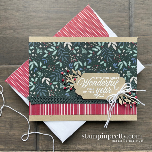 Most Wonderful Time Card by Mary Fish, Stampin' Pretty using Tidings of Christmas DSP from Stampin' Up!
