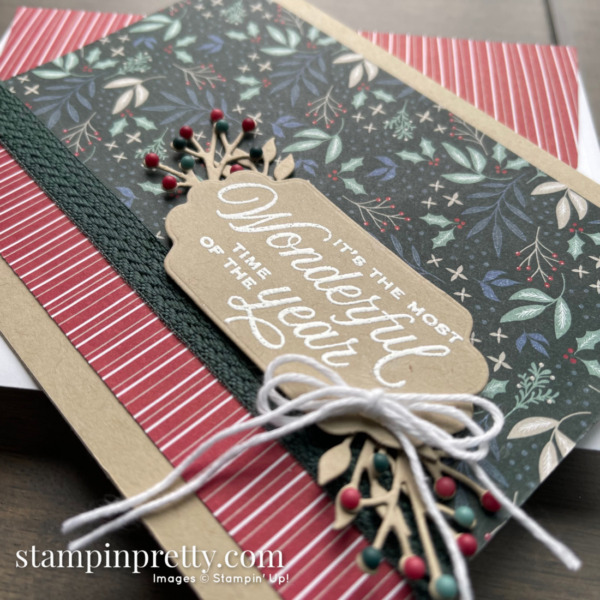 Most Wonderful Time Card by Mary Fish, Stampin' Pretty using Tidings of Christmas Designer Series paper from Stampin' Up!