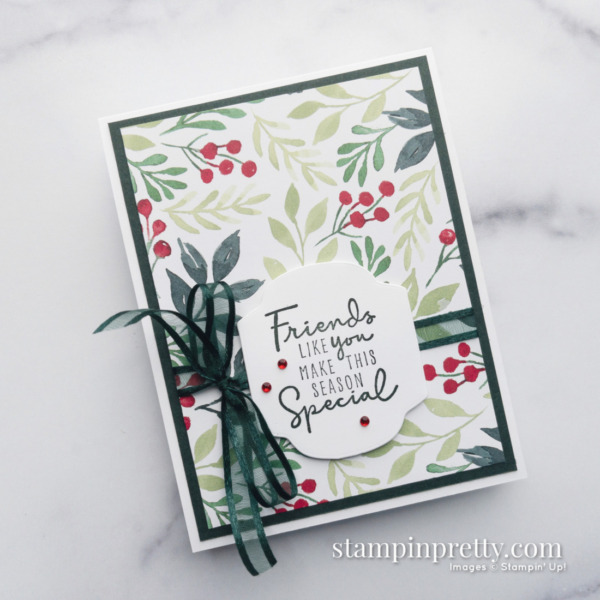 Painted Christmas Suite Product Preview - Holiday Card by Mary Fish, Stampin' Pretty Earn Tulips