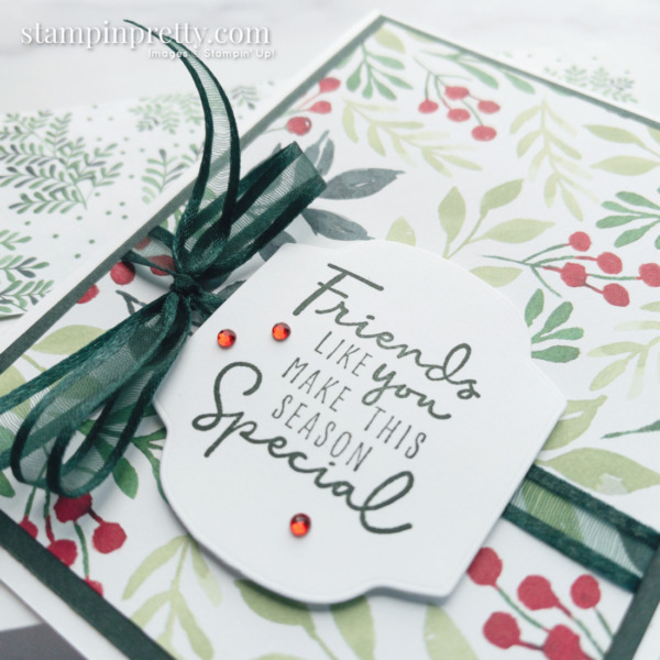 Painted Christmas Suite Product Preview - Holiday Card by Mary Fish, Stampin' Pretty Evening Evergreen