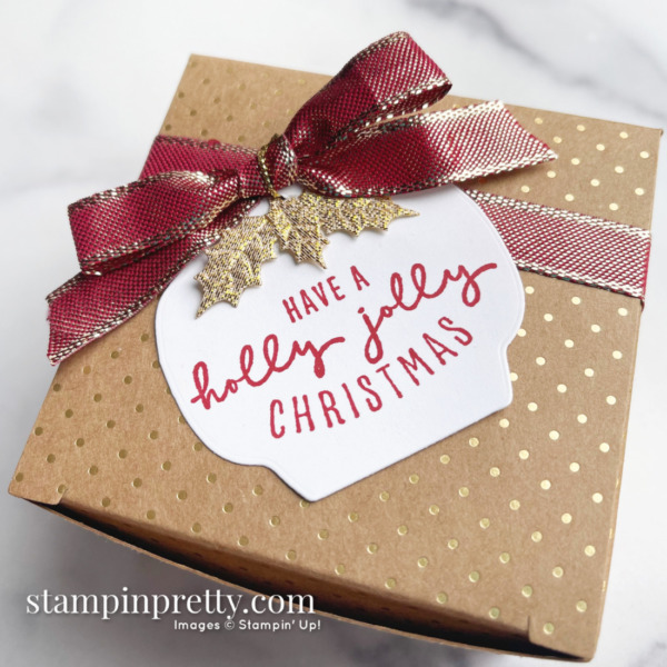 Painted Christmas Suite Scalloped Kraft Treat Box from Stampin' Up! Created by Mary Fish, Stampin' Pretty