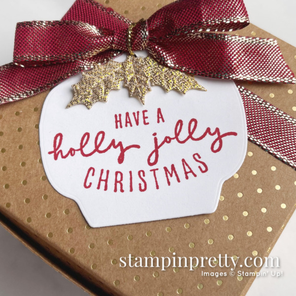 Painted Christmas Suite Scalloped Kraft Treat Box from Stampin' Up! Created by Mary Fish, Stampin' Pretty Close Up