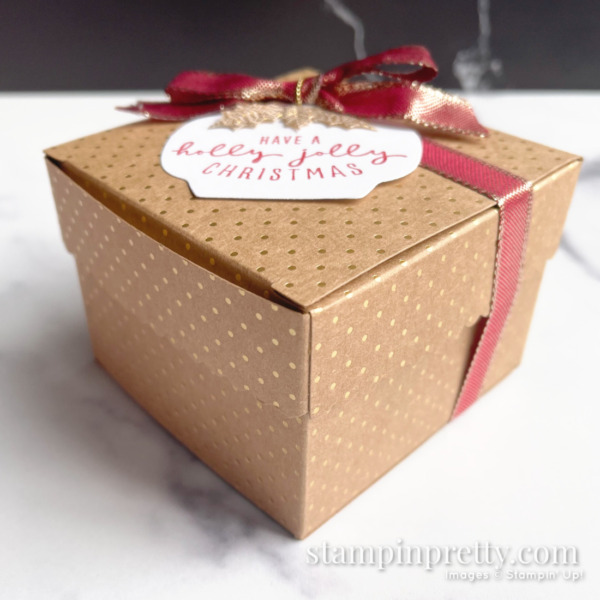 Painted Christmas Suite Scalloped Kraft Treat Box from Stampin' Up! Created by Mary Fish, Stampin' Pretty Side View