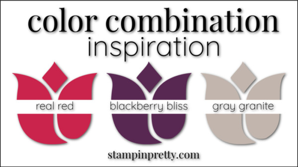 Stampin' Pretty Color Combinations Blackberry Bliss, Real Red, Gray Granite