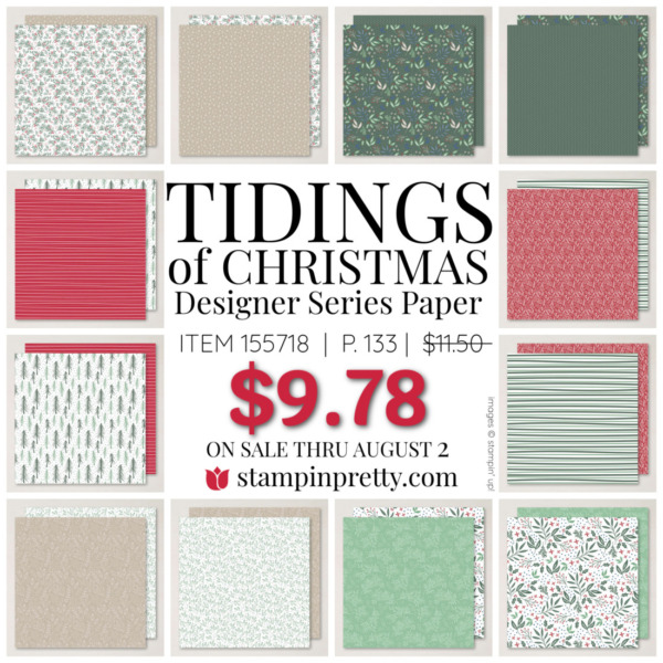 Tidings of Christmas Designer Series Paper by Stampin Up! Mary Fish, Stampin Pretty