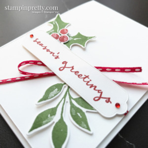 Create a Seasons Greetings card using Christmas Season and Christmas to Remember Bundles. Holiday cards created by Mary Fish, Stampin' Pretty