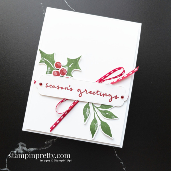Create this Seasons Greetings card using Christmas Season and Christmas to Remember Bundles. Holiday cards created by Mary Fish, Stampin' Pretty