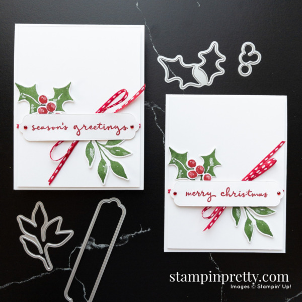 Create this card duo using Christmas Season and Christmas to Remember Bundles. Holiday cards created by Mary Fish, Stampin' Pretty