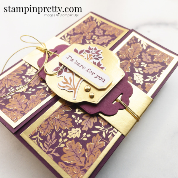 Create this gold gatefold card using the Blackberry Beauty Suite Collection from Stampin' Up! Card by Mary Fish, Stampin' Pretty