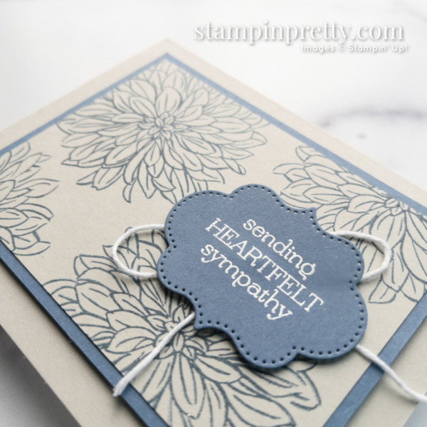 Create this Misty Moonlight and Sahara Sand Sympathy Card with Delicate Dahlia from Stampin' Up! Mary Fish, Stampin' Pretty