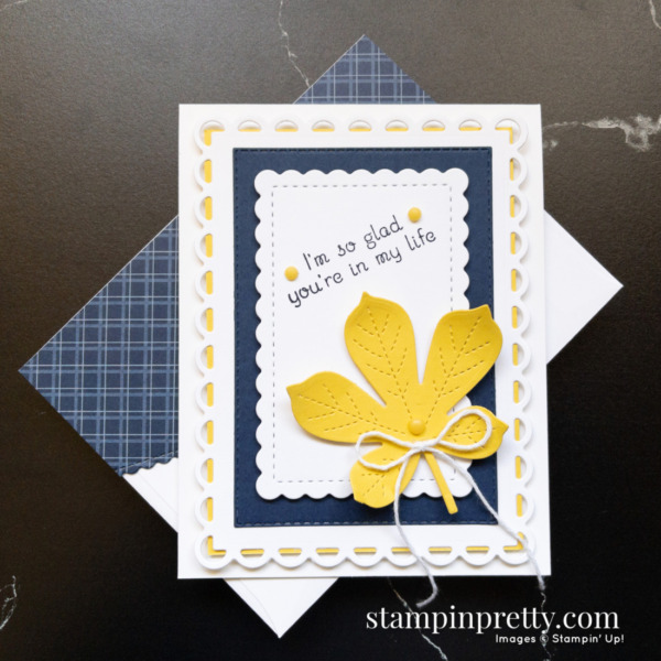 Create this card using the Love of Leaves Stamp Set and Stitched Leaves Dies by Stampin' Up! Card by Stampin' Pretty, Mary Fish