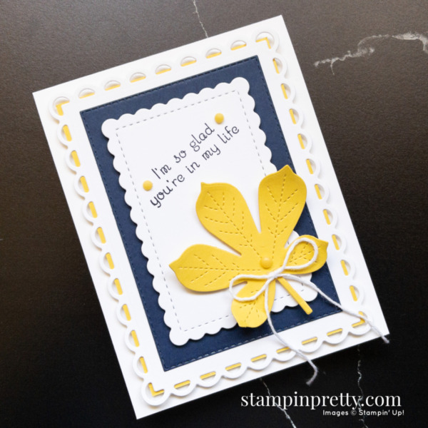 Create this card using the Love of Leaves Stamp Set and Stitched Leaves Dies from Stampin' Up! Card by Stampin' Pretty Mary Fish