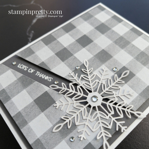 Create this card using the Peaceful Place DSP and Wonderful Snowflakes by Stampin' Up! Card by Mary Fish Stampin' Pretty