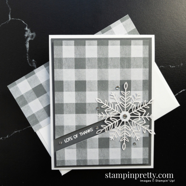 Create this card using the Peaceful Place DSP and Wonderful Snowflakes by Stampin' Up! Card by Mary Fish, Stampin' Pretty